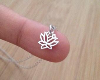 Silver Lotus Necklace, Tiny Lotus, Yoga jewelry, Meditation, Zen, Spiritual, Buddhist, mindfulness