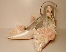 Blush Rose Wedding Shoes  Bridal  Fairytale Bridal Shoes Covered With Flowers Spring Garden Wedding Shoes