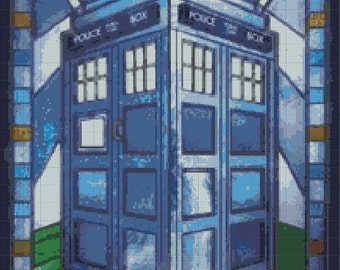 Counted Cross Stitch Pattern, Doctor Who Stained Glass Tardis, Instant Download, PDF Pattern