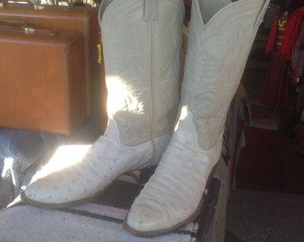 Vintage 1980s Tony Lama El Rey Ostrich Boots sz 10 1/2B Men's in exellent condition