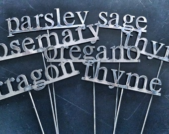 You choose! Set of 6 metal herb stakes/garden markers