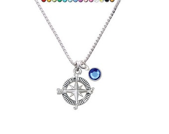 NC-C5454 - F1578 - Silver Plated Compass with Crystal Charm Necklace - Chose your crystal color