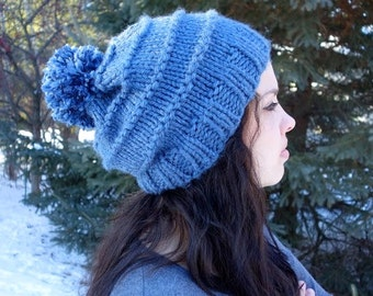 Slouchy Knit Pom-Pom Hat - 12 Colors Available!