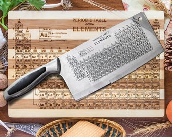 periodic table engraved cleaver kitchen chef knife by vahekatrjyan. Black Bedroom Furniture Sets. Home Design Ideas