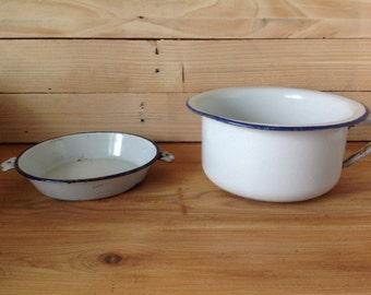Vintage together jar of room(chamber) / group of bathroom/basin / bowl enamelled + enamelled plate