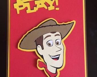 "Toy story ""woody"" Birthday Invitation-handmade-cardstock, handmade, 10"
