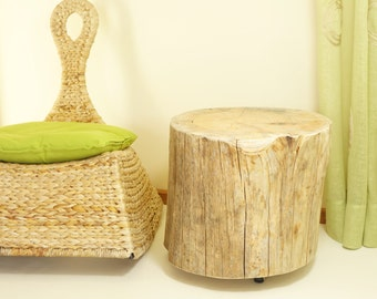 get 10% off onTree Stump Table on Rolling Casters rustic Tree Stump Side  Table of Tree Trunk baumstamm tisch