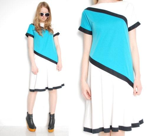 80 s habiller teal robe robe g om trique bloc de couleur. Black Bedroom Furniture Sets. Home Design Ideas