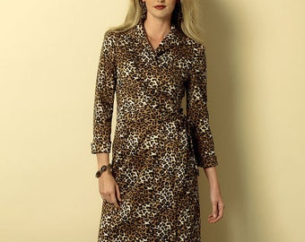 Butterick Sewing Pattern B6128 Misses' Wing Collar Wrap Dresses