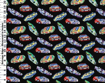 Fabric by the Yard - Race Cars on Black Cotton