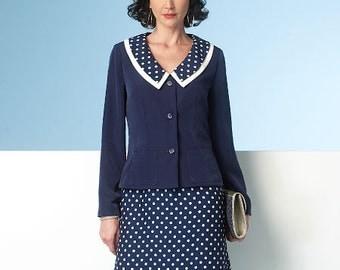 Butterick Sewing Pattern B6185 Misses' Collarless Jacket, Top, Dress, Skirt and Pants