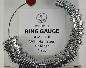 Pro 63 piece a-z+6 uk finger gauge ring sizer includes half sizes jewellery tool