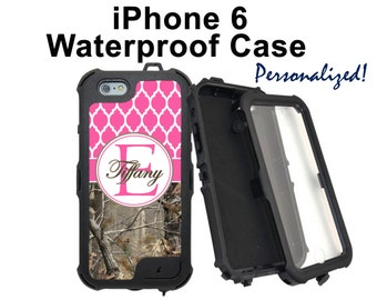 Monogram iPhone 6 6 Plus Case Personalized Real Tree Camo Pink Lattice Monogrammed Phone Case iPhone 6 Water Resistant Heavy Duty Case #2317