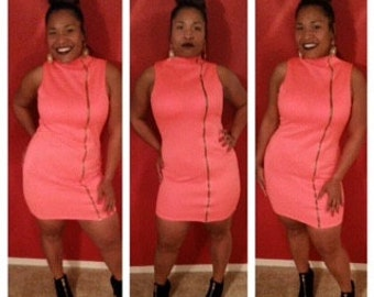 Large-Plus Size Highlighter Coral Bodycon Dress
