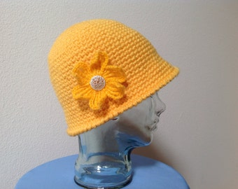 Womans Cloche Hat with Flower Broach.