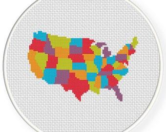 Colorful United State of America Map PDF Cross Stitch Pattern Needlecraft - Instant Download - Modern Chart