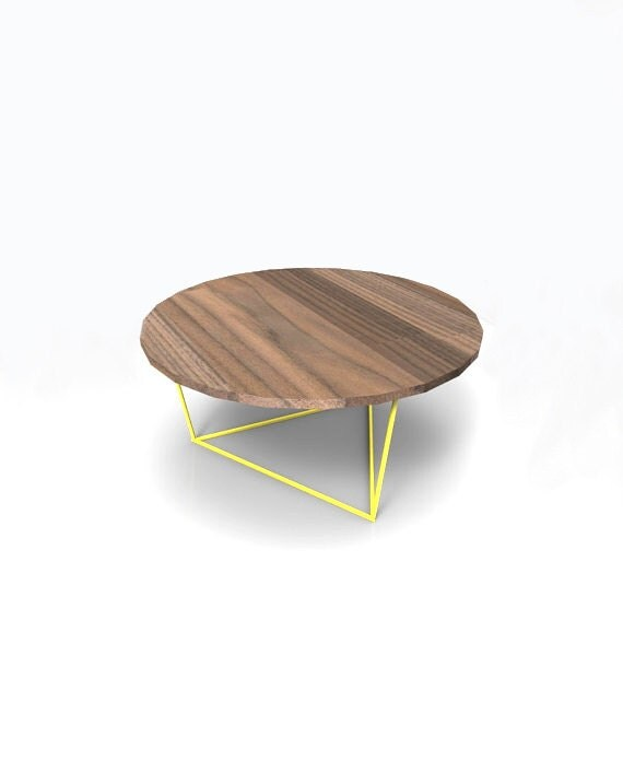 Modern Round Coffee Table With Solid Walnut Top By