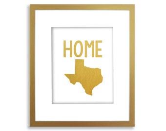 Home State Art Print, Gold Foil State Print