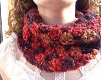 Crocheted Cowl/Neckwarmer in Autumnal shades