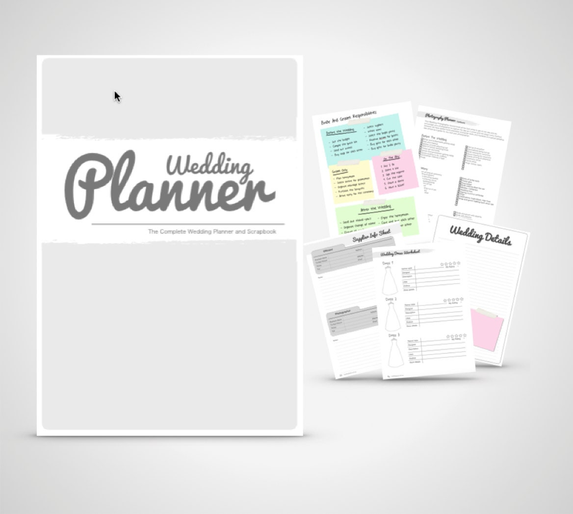 wedding planner book wedding organizer print by weddingtoolzstore