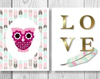 Green Owl Decor Nursery Digital Download 8x10,Owl Printable,Owl Decor Download Print,Owl Decor,Green Owl,Nursery Decor,Nursery Owl,Owl 0103