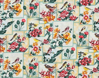 Flowers and Birds Cotton Fabric by the yard