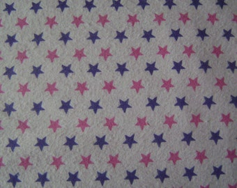 Pink & Purple Stars on Pink Flannel Fabric by the yard