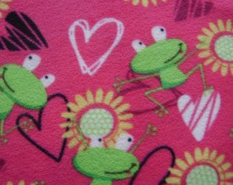 1.5 yards of Frogs & Hearts Anti Pill Fleece Fabric