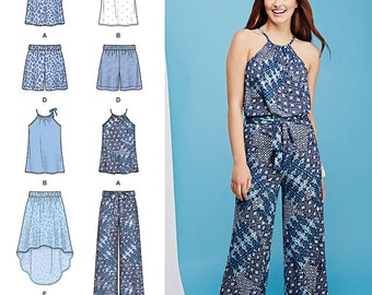 Simplicity Pattern 1112 Misses' Top, Pants or Shorts and Skirt