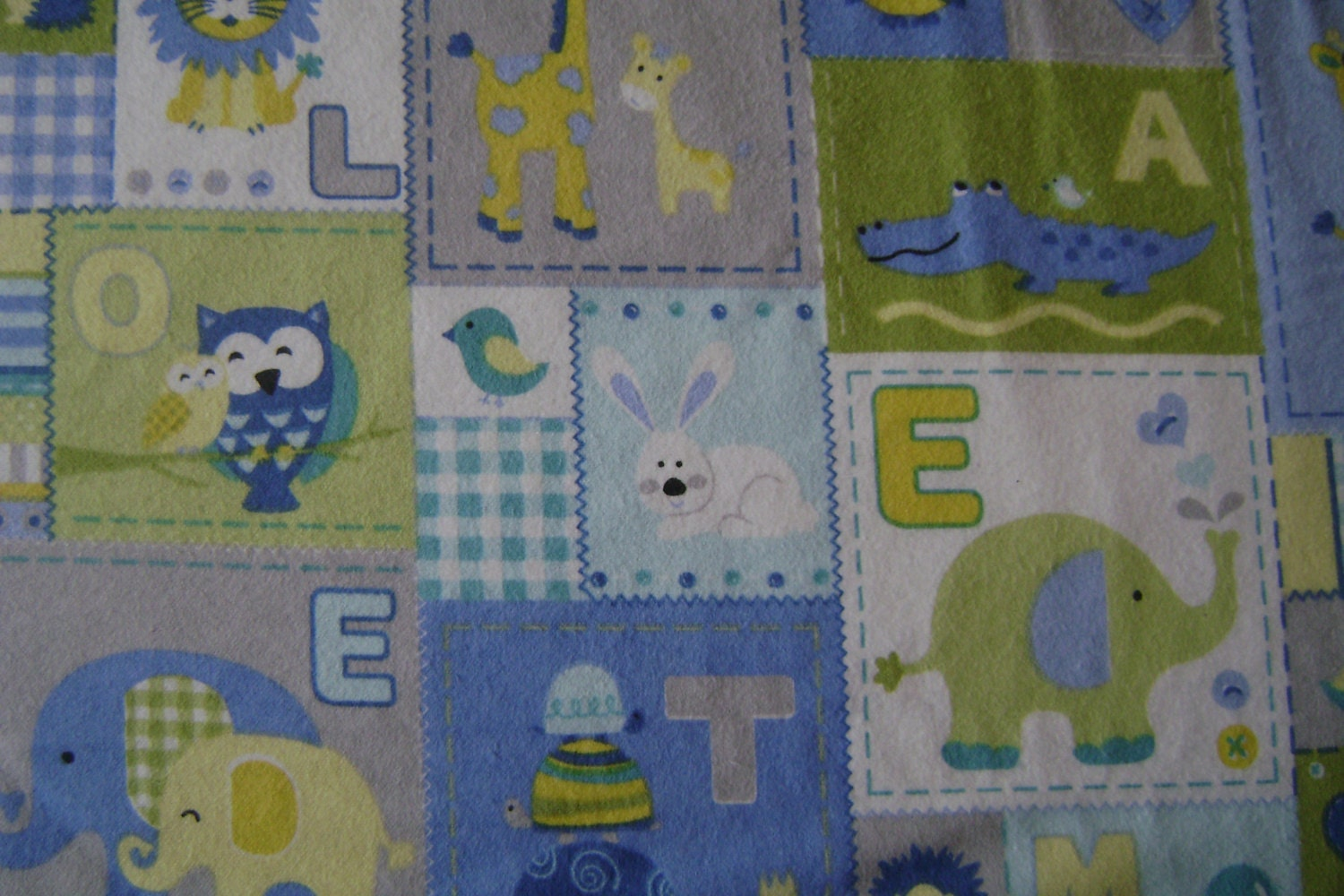 Baby animals patch blue flannel fabric by the yard for Baby fabric by the yard