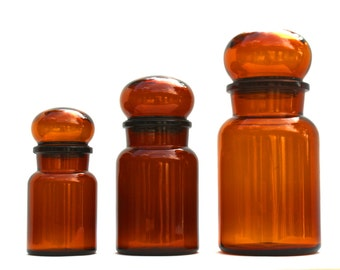 Amber Glass Apothecary Jars w/ Bubble Top Made in Belgium / Amber Glass Containers / Brown Glass Belgium Containers