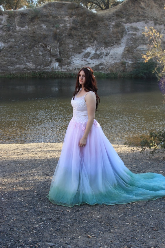 items similar to fairytale tie dye wedding dress on etsy