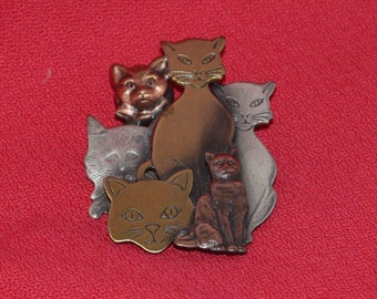 Whimsical Vintage Pin or Brooch With Six Fanciful Felines