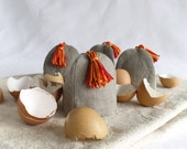 Set of 4 egg cosies in natural linen for Carolin