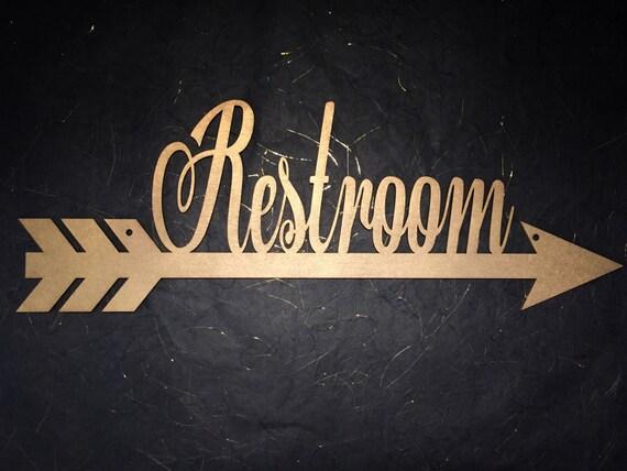 Restroom Arrow Sign, Restroom Sign, Bathroom Sign, Wedding Directional Sign, Wedding Direction Sign, Wedding Bathroom Sign, Restroom Arrow