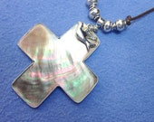 Giant MOTHER of PEARL CROSS Pendent with Dove Charm with Silver outline on Brown Leather Cord