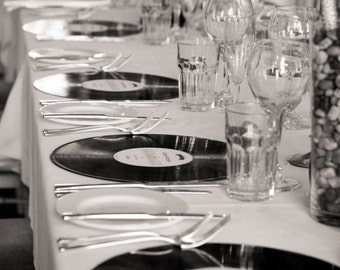 20 X Custom Unique Vinyl LP Place Settings - Favour - Favor - Music Theme Wedding