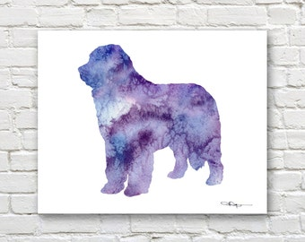Purple Newfoundland Art Print - Abstract Watercolor Painting - Wall Decor