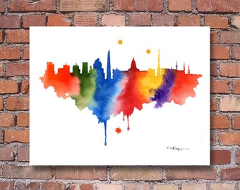 Buenos Aires Argentina Skyline - Abstract Watercolor Art Print - Wall Decor