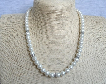 Pearl Necklace,pearl And Rhinestone Necklaces, Glass Pearl Necklace,One Strand Pearl Necklace,Wedding Jewelry,Bridesmaid necklace,Jewelry