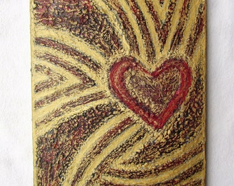 """Heart Painting--Original Modern Art on Canvas--10""""x8""""--Red Heart Wall Decor--Romantic Artwork--Gift for Home."""