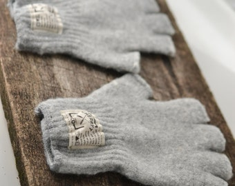 Knit Fingerless Gloves - Men's Hudson Wool Grey Fingerless Gloves. Half finger gloves. Perfect for camping season.