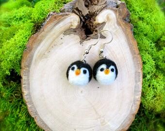 Needle Felted Penguin Earrings