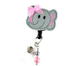 Gray Elephant -Retractable ID Badge Holder-Name Badge Holder-Nurses Badge-Badge Clip-Badge Reel-Pediatric-RN-Nursing Badge Holder