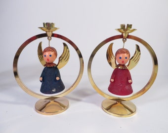Vintage West German Angel Candle Holders - Pair of Plastic Angel Candle Holders
