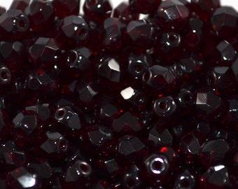 Czech firepolished glass beads 5mm Dark Garnet Red (50 pc)