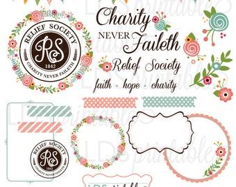 RSCA001 - LDS Relief Society Clipart Clip Art, Faith Hope Charity, Charity never faileth