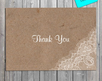 Rustic Lace Bridal Shower  Thank You Card, Shabby chic  Thank You Card INSTANT download also available professionally printed