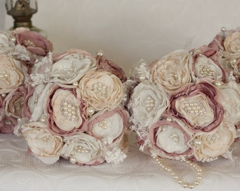 Vintage Inspired Fabric flower burlap brooch bouquet, set of four (4) Ivory, Cream and Dusty pink satin, and Lace, bridesmaid bouquet