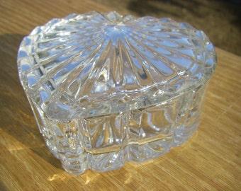 "Princess House 'Highlights' Lead Crystal Heart-Shaped Trinket Box, Lidded, 4-1/2"" x 4-1/2"" x 2"""